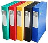 Exacompta 50910E Archivbox (Manila-Karton, Rückenetikett, Rücken 60 mm, 600 g, DIN A4) 1 Stück farbig sortiert
