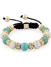 8269f515989e Morella pulsera con perlas de piedras y Strass de circonita de color  dorado