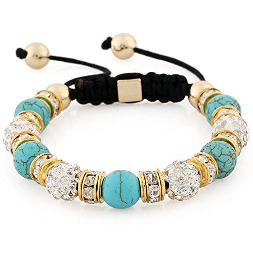 Morella pulsera con perlas de piedra y piedras de circonita Strass de color oro-turquesa, ajustable, para damas