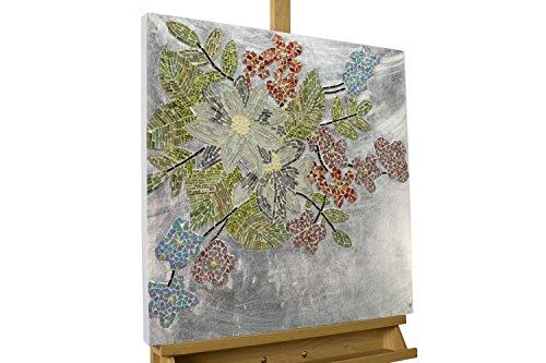 Extravagante arte mosaico de pared KunstLoft® 'Wondrous Blooms' 61x61x5cm   Decoración XXL arte de vidrio   naturaleza árbol ramas rojo   cuadro hecho a mano imagen mural moderno