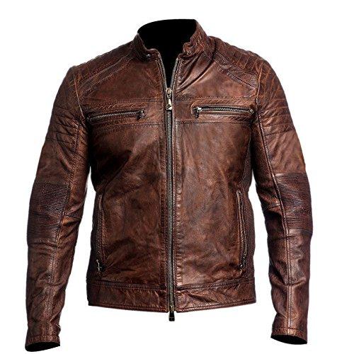 Da uomo marrone Vintage Cafe Racer Distress in vera pelle giacca da motociclista Brown Large