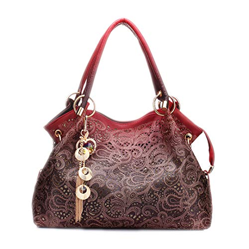 Sequined Floral Top (Hollow Out Handbag Floral Print Shoulder Bags Ladies Pu Leather Tote Bag Red 30cmxMax Lengthx50cm)