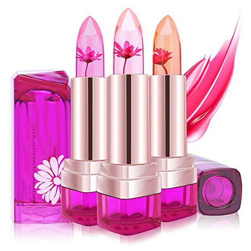 Flower Lipstick, Jelly Lipstick with Flower Inside 3 Colors Gradation Lipstick for Pink Lips (Set of 3)