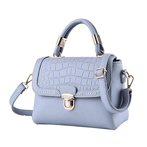 Geprägte Leder Schulranzen (Frauen Top Griff Schulranzen Handtaschen Taschen Handtasche Multicolor,Grey-OneSize)
