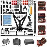 Fantaseal 70 in 1 kit Accessoires pour Gopro Hero 7 6 5 4 3+ 3 2 1 SJ4000 5000 6000 DBPOWER AKASO et Les Caméra Sport, Case de Rangement imperméable, Compatible avec la Serie de GoPro (Rouge)