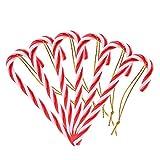 Naler 12 x Zuckerstangen Weihnachtsbaumschmuck Baumbehang Weihnachtsbaum Dekoration Anhänger mit Kordel Rot und Weiß
