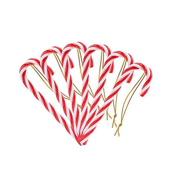 Naler 12PCS plastica Albero di Natale Rosso e Bianco Candy Cane Hanging Wall Home Party Decorazioni Ornamenti 1 spesavip