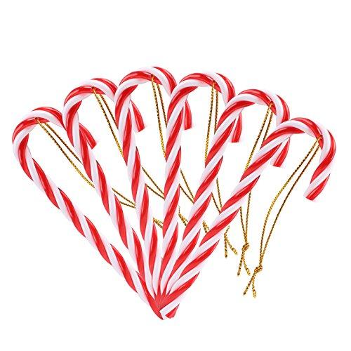 Naler 12pcs plastica albero di natale rosso e bianco candy cane hanging wall home party decorazioni ornamenti