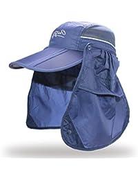 Gr Marke Breiter Krempe Eimer Hut Sonnencreme Fischer Angeln Cap Abnehmbare Faltbare Kappe Sommer Sonne Atmungs UV Schutz Visiere (Color : Deep Blue)