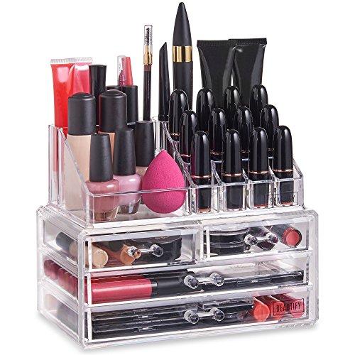 Beautify Boîtes à bijoux et présentoirs - Présentoir Organisateur Maquillage – 20 compartiments et 4 tiroirs - Acrylique