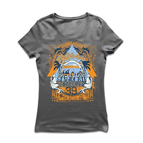 lepni.me Frauen T-Shirt Erster Tag von Kalifornien - Küstenbuchtforscher - Surfkleidung (X-Large Graphit Mehrfarben)