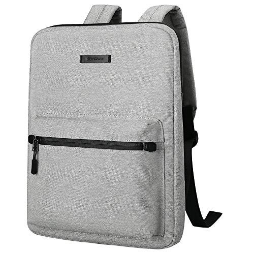 Ultradünne Laptop-Rucksäcke, Cartinoe Canvas Leichter Rucksack für Mädchen Schulrucksack Damen Herren College Bookbag, 13 14 15-Zoll-Chromebook-Laptoptasche für Macbook Touchbar 15 Pro-Hülle, hellgrau