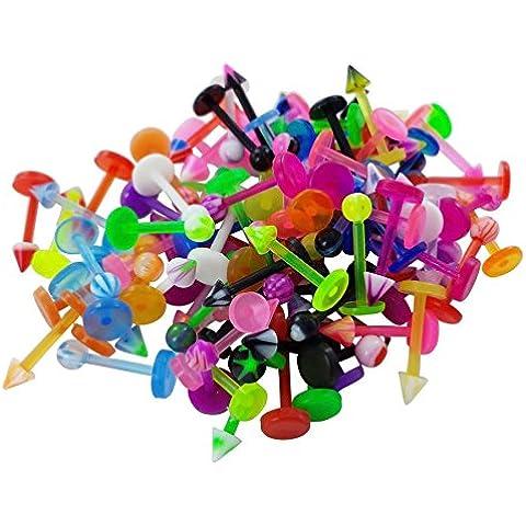 Labret piercing-Akacha de labios y bandera de manguera flex para hombre o mujer, diseño con bolas, lote de 5
