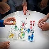 Relaxdays Trinkspiel Drinking Ludo Würfelspiel für 2 – 4 Spieler B x T: 30 x 30 cm mit 16 Schnapsgläsern & 2 Würfeln witziges Partyspiel für Feier-Spaß Gesellschaftsspiel als Würfel-Trinkspiel - 2