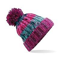 Beechfield Unisex Adults Corkscrew Knitted Pom Beanie Hat