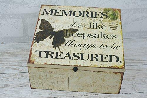 Erinnerungen Box Andenken aus Holz Memory Chest Shabby Chic Schmetterling (Möbel-andenken-kasten)