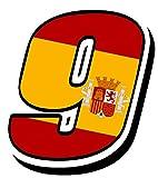 Startnummer Nummer Zahl Auto Moto Vinyl Aufkleber Sticker Motorrad Motocross Motorsport Racing Tuning Flagge Fahne Spanien Spain (9), N90