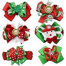 family-baby 6pcs Kids bebé niña adornos de Navidad con tocado banda elástica de pelo diadema con lazo y pañuelo para la cabeza