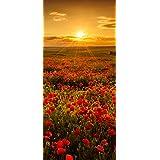 Posterdepot Papel pintado para puerta puerta Póster Flores de Amapola en puesta del sol am Abend–Tamaño 93x 205cm, 1pieza, ktt0751
