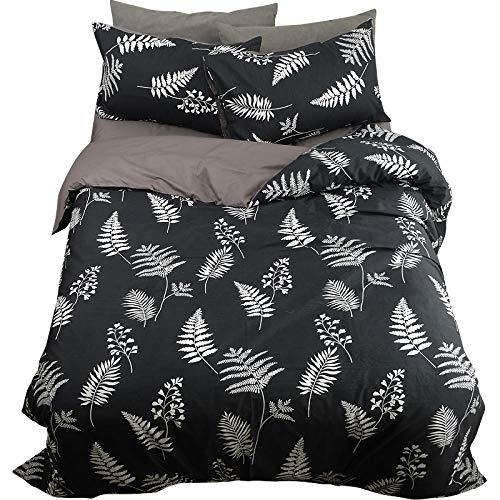 Anmou Schwarz-Weiß-Blätter Elegante Baumwolle Twill 40 EIN Bettbezug Set mit Baumwollbettwäsche Vier Sätze Bettwäsche@Bettlaken_Schwarz_1,2 M (4 Fuß) Bett -