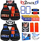Gafild Kit De Gilet Tactique, 92 Pcs Gilet Tactique Enfant pour Nerf N-Strike Elite Series avec 80 fléchettes, 2 Clips de Recharge, 2 Masque Facial, 4 Wrist Bands, 2 Lunettes Protection