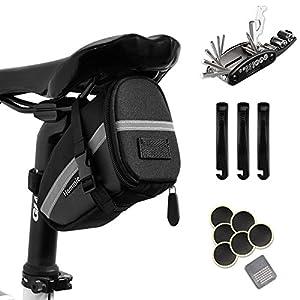 Hommie 16 En 1 Bolsa de Sillín para Bicicleta con Herramientas Multifuncional, Ideal Bolsas de Ciclismo con Tira Reflectante y Kits de Reparación para Bicicletas de Montaña, Negro