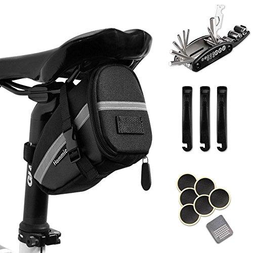 Hommie Fahrrad-Multitool, 16 in 1 Fahrrad Reparatur Set Fahrrad Multifunktionswerkzeug Pocket Tool Multifunktions Werkzeug, geschenkt Fahhradtasche - Tasche Unter Sitz Dem Fahrrad