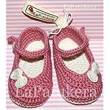 Patucos Merceditas para bebé de crochet, de color Rosa palo y beig, 100%