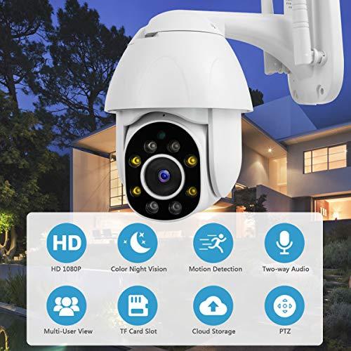 Überwachungskamera Aussen WLAN 1080P Dome IP Kamera PTZ mit Zwei-Wege-Audio 30m Nachtsicht Bewegungserkennung Alarm Wasserdicht Fernzugriff