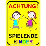 Hinweis-Schild Achtung spielende Kinder I hin_065 I Größe 40 x 60 cm I Warnschild Spielstraße Spielplatz I Vorsicht Kids langsam fahren
