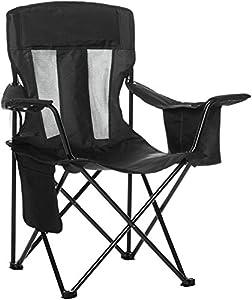 AmazonBasics - Campingstuhl mit Kühlfach, Schwarz, Mesh