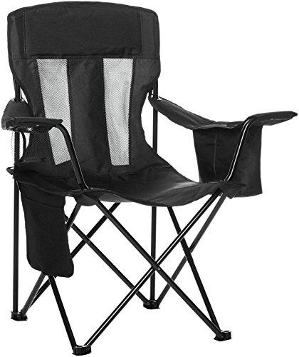 Amazonbasics - sedia da campeggio con tasca termica, nero (rete)