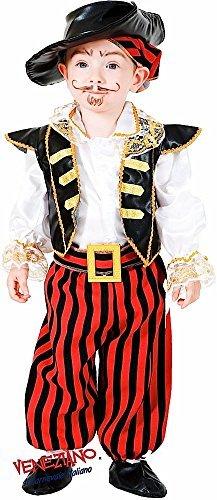 Fancy Me Italienische Herstellung 6 Stück Baby Kleinkind Jungen Karibik Piraten Halloween Kostüm Kleid Outfit 0-24 Monate - Rot/weiß, 0 Years (Kleinkind Karibik Piraten Kostüm)