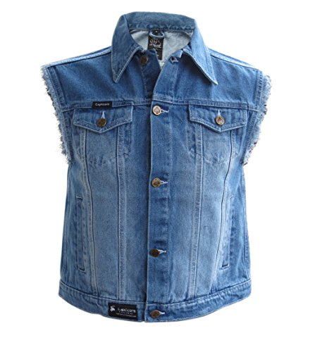 Capricorn Rockwear Jeans Weste blau stonewashed mit ausgefransten Armen Denim-weste