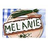 Tischset mit Namen ''Melanie'' Motiv Schnittlauch - Tischunterlage, Platzset, Platzdeckchen, Platzunterlage, Namenstischset