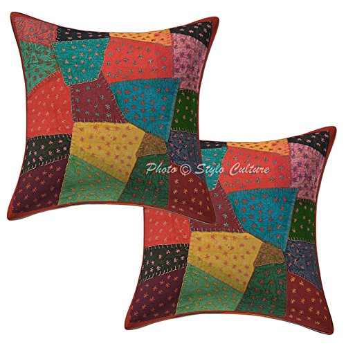 Indian Patchwork 16x16 Sofa Cushion Covers Multi Color Cotton Abstract Cushion Coverss