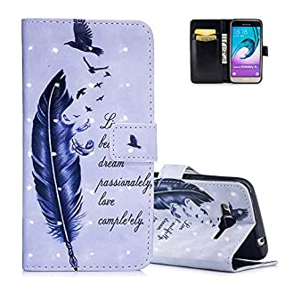 Aeeque Simple Black Feather Birds Wallet Case for Samsung Galaxy J3/J3 2016 5.0 inch, 3D Premium PU Leather Bookstyle Kickstand Function with Card Slots Soft Silicone Shockproof Protection Holster