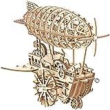 Simulus Holzpuzzle: Aufziehbares Holz-Luftschiff im Steampunk-Stil, 349-teiliger Bausatz (3D-Bausatz)