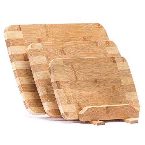 Bambus Schneidebretter 3er Set Servierbretter Küchenbrett Brotbrett; klingenschonend, Antibakteriell
