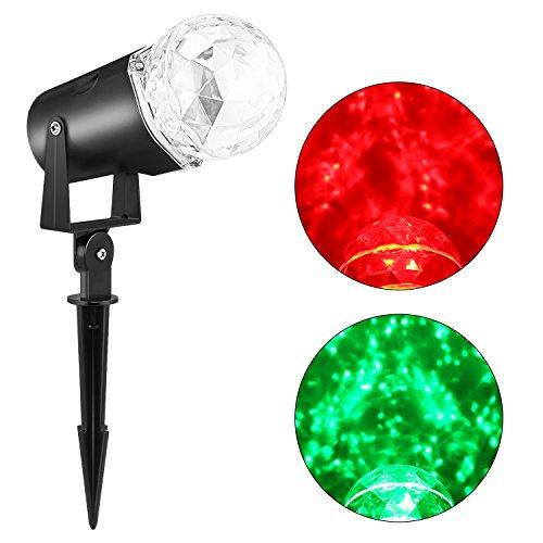 Beleuchtung von Bühnen, iCoco, wasserdicht Reflektor Rotation LED Lampe, Licht Kugelschreiber in Kristall, für KTV, Party-Familie, Garten, Konzert, Bühne, zeigt rosso&verde -