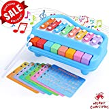 SGILE 2 in 1 Piano Xylophone for Kids, 8 Key Scales Musical Instruments Toyset Toy with 6 Music Scores, Early Education Keyboard for 1 2 3 Year Olds Baby Toddler, No Batteries Needed