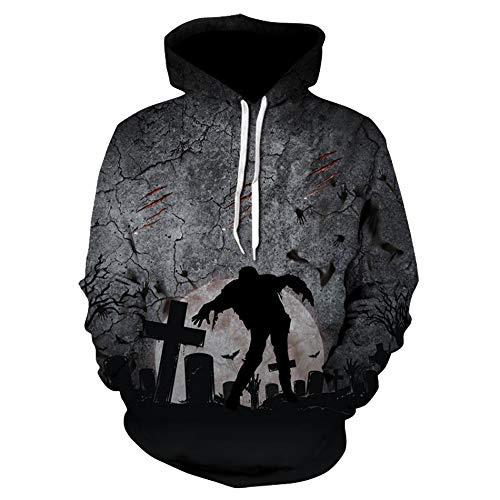 TEBAISE Unisex Halloween Herren und Damen Slim Fit Hoodie Long Sleeve Kapuzenpullover 3D Druck Muster Sweatshirt Pullover