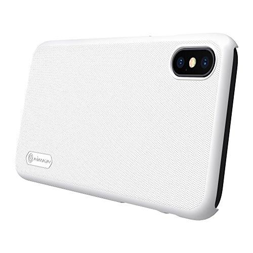 Meimeiwu Super-Frosted Tasche Qualitativ hochwertiges Back Cover Schutzhülle mit Displayschutz für iPhone X - Braun Weiß