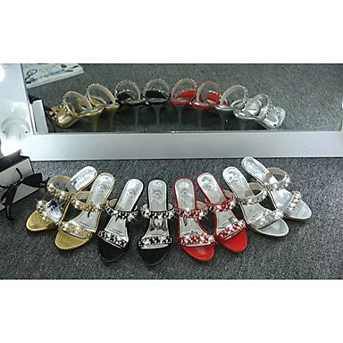 LvYuan Damen-Slippers & Flip-Flops-Kleid Lässig-PU-Kitten Heel-Absatz-Komfort-Schwarz Rot Gold Red