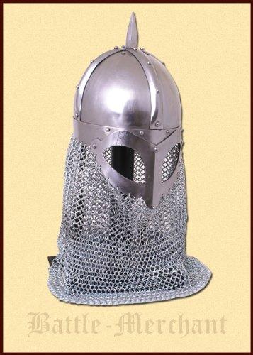 Battle Merchant Vikingo Gafas Casco con Cadenas COTA de Malla 2mm Acero-Combate de exhibición Casco