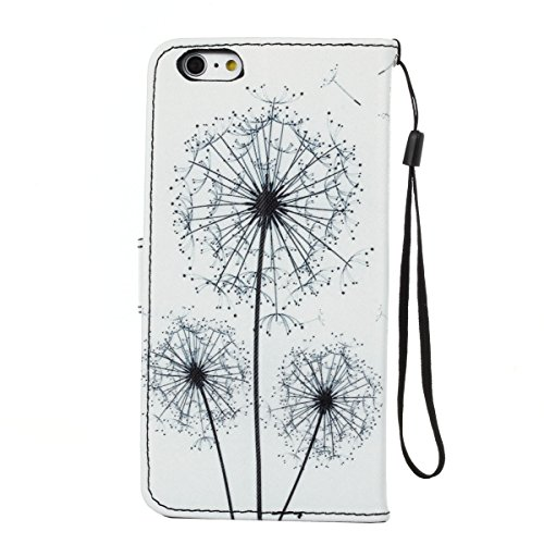 ISAKEN Custodia iPhone 6 Plus, Cover iPhone 6S Plus, Elegante borsa Custodia in Pelle Protettiva Flip Portafoglio Case Cover per Apple iPhone 6 Plus (6 5.5) / con Supporto di Stand / Carte Slot / Chi bianco dandelion
