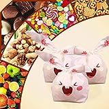 Tumao Sac de Bonbons lapin-50pcs Sac à Biscuits Pochette Cadeau Anniversaire Enfant Noël Halloween