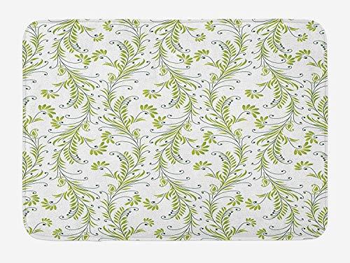 CHKWYN Flower Bath Mat, Paisley Leaf Antique Stem Swirl Traditional Damask Fashion Stylize Flora, Plush Bathroom Decor Mat with Non Slip Backing, Green Black White,15.7X23.6 inch