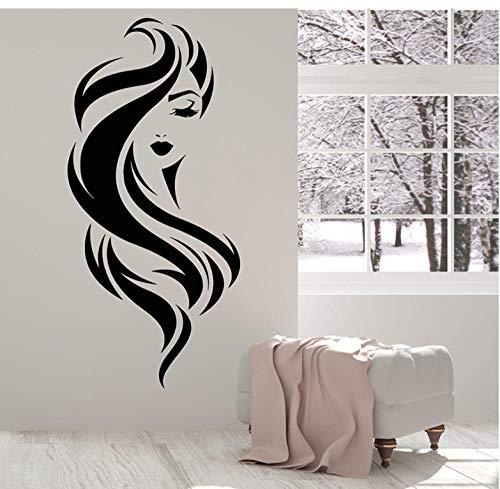 icht Mädchen Schönheit Make-Up Friseursalon Wandtattoo Wohnkultur Kunstwand Abnehmbare Kinderzimmer Wandaufkleber (58X27 Cm) ()