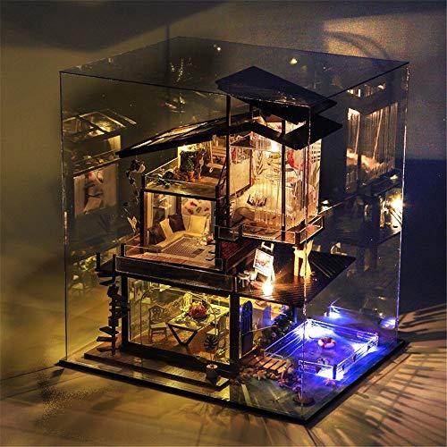wächshaus-Fertigkeitinstallationssätze Hölzernes Puppenhaus mit Möbeln und Zubehör Küstenvillen Kreative manuelle Montage Architektur Modell Miniatur Mini Diorama Haus Renovierung ()